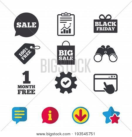 Sale speech bubble icon. Black friday gift box symbol. Big sale shopping bag. First month free sign. Browser window, Report and Service signs. Binoculars, Information and Download icons. Vector