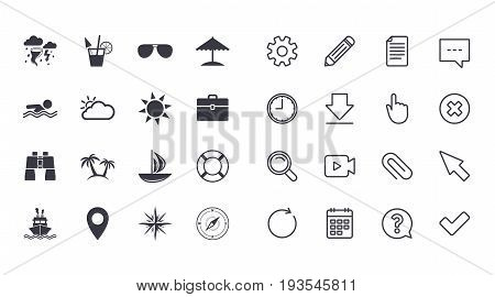 Set of Travel and Cruise icons. Ship, Yacht and Lifebuoy signs. Binoculars, Windrose and Storm symbols. Sun, Swimming and Sunglasses. Calendar, Document and Download line signs. Vector