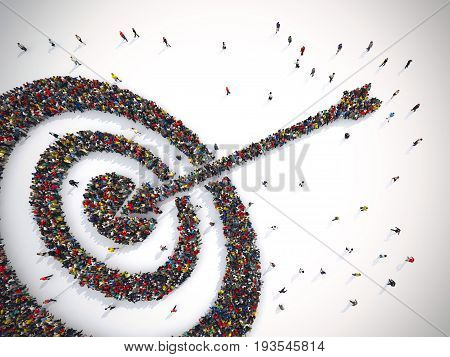 3D rendering of people forms a target hits in the middle by arrow