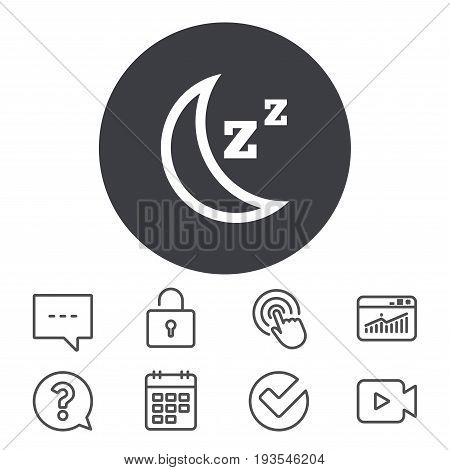 Sleep sign icon. Moon with zzz button. Standby. Calendar, Locker and Speech bubble line signs. Video camera, Statistics and Question icons. Vector