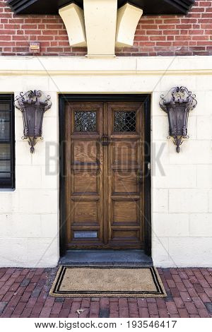 An Antique wooden door, It is a front entrie