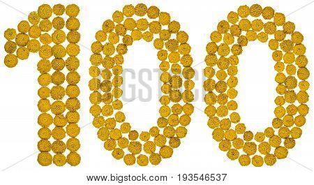 Arabic Numeral 100, One Hundred, From Yellow Flowers Of Tansy, Isolated On White Background
