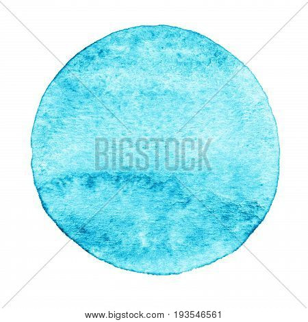 Blue, Mint Circle Painted With Watercolor On A White Background