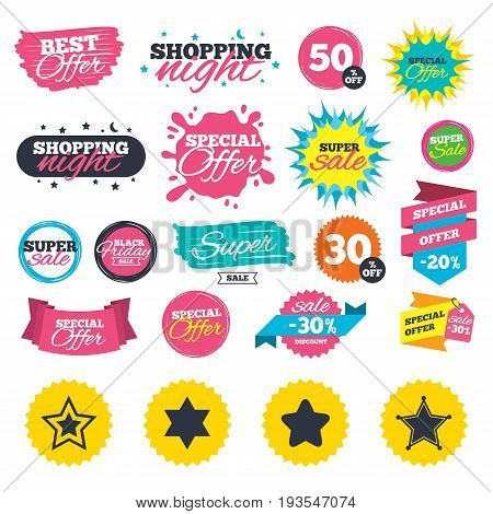 Sale shopping banners. Star of David icons. Sheriff police sign. Symbol of Israel. Web badges, splash and stickers. Best offer. Vector