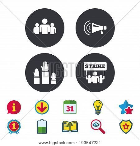 Strike group of people icon. Megaphone loudspeaker sign. Election or voting symbol. Hands raised up. Calendar, Information and Download signs. Stars, Award and Book icons. Vector