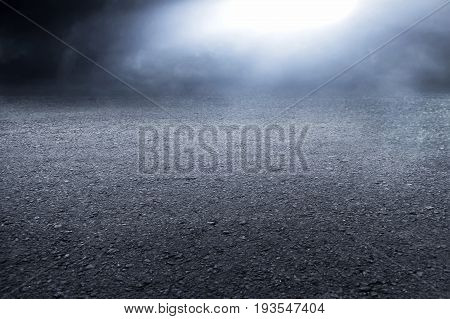 View of asphalt road texture and smoke background