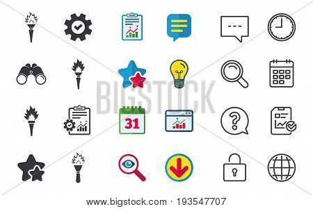 Torch flame icons. Fire flaming symbols. Hand tool which provides light or heat. Chat, Report and Calendar signs. Stars, Statistics and Download icons. Question, Clock and Globe. Vector