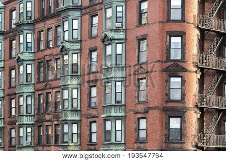 A view to the windows of Boston city