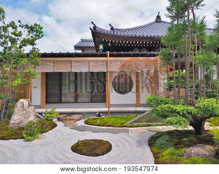 Kanagawa, Japan - June 9, 2017: Shoin Hall and Japanese garden at Hase-dera Temple, commonly called the Hase-kannon in the city of Kamakura in Kanagawa Prefecture, Japan.