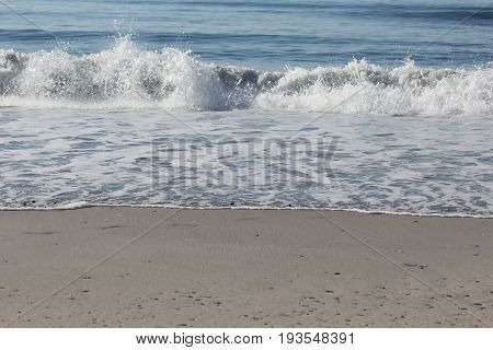 Waves crash on the beach in New Jersey