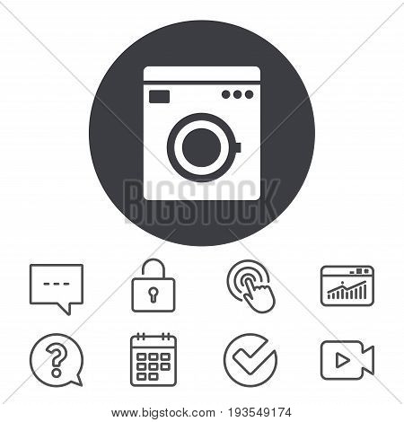 Washing machine icon. Home appliances symbol. Calendar, Locker and Speech bubble line signs. Video camera, Statistics and Question icons. Vector