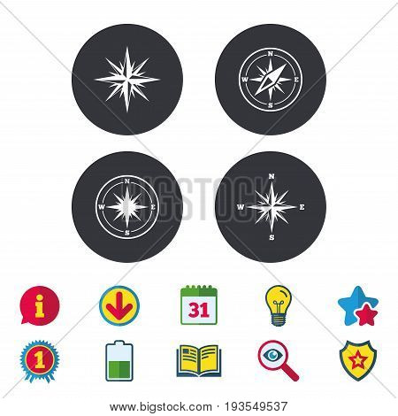 Windrose navigation icons. Compass symbols. Coordinate system sign. Calendar, Information and Download signs. Stars, Award and Book icons. Light bulb, Shield and Search. Vector