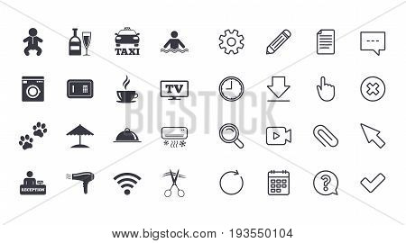 Set of Hotel services icons. Taxi, Wifi internet and Swimming pool signs. Coffee, Wine bottle and Air conditioning symbols. Calendar, Document and Download line signs. Pencil, Service and Search icons