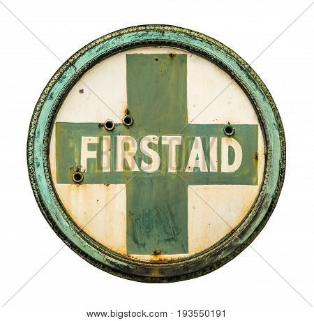 Isolated VIntage Metal First Aid Sign For Pharmacy