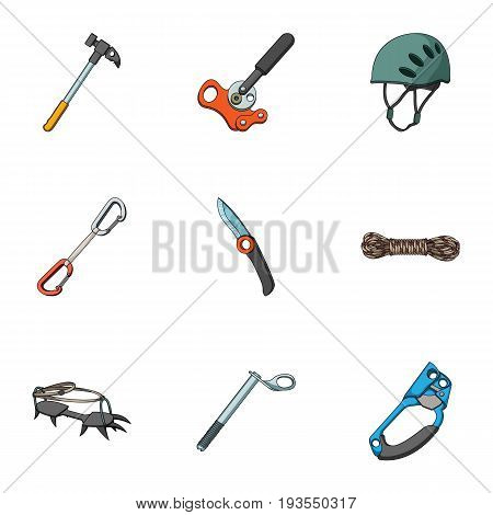 Ice ax, conquered top, mountains in the clouds and other equipment for mountaineering.Mountaineering set collection icons in cartoon style vector symbol stock illustration .