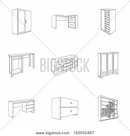 The set of images on the theme of sleep and rest. Different beds for every taste and color.Bed icon in set collection on outline style vector symbol stock web illustration.