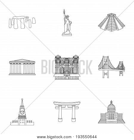 Sights of the countries of the world. Famous buildings and monuments of different countries and cities. Countries icon in set collection on outline style vector symbol stock web illustration.