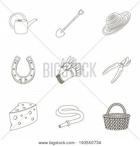 Set of pictures about gardening. Village, vegetable garden, garden, ecology.Farm and Gardening icon in set collection on outline style vector symbol stock web illustration.
