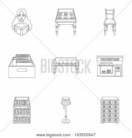 A set of icons with books. Seth about the library, reading, bookstore. Library and bookstore icon in set collection on outline style vector symbol stock web illustration.