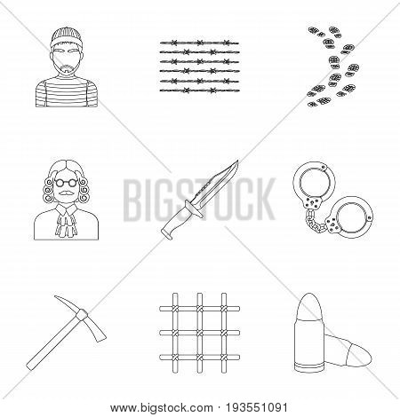 Set of images about the prison and prisoners. Surveillance of thieves, court, crime and punishment.Prison icon in set collection on outline style vector symbol stock web illustration.