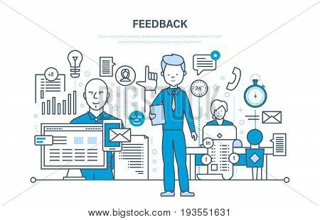 Modern technology, communications, technical support and feedback, testimonials related, review, resolving issues, analysis and evaluation. Illustration thin line design of vector doodles