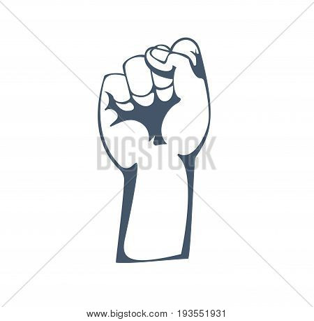 Concept of resistance, strength, freedom, majority, fight, leadership, protest, defending rights. Hand depicts gestures. Illustration sketch of human hands raised up, isolated on white background