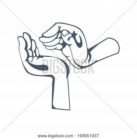 Concept of gestures and hand signals: symbolizing respectful attitude, warmth, kindness, care, guardianship, friendly support. Illustration sketch of human hands, isolated on white background.