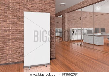 Blank roll up banner stand in office interior with clipping path around ad stand. 3d illustration