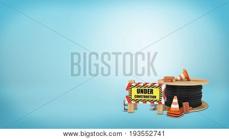 3d rendering of a several traffic cones, red and gray bricks, a full drum of steel rope a barrier with an 'Under construction' sign. Road repair and construction. Roadworks information. Car trip.