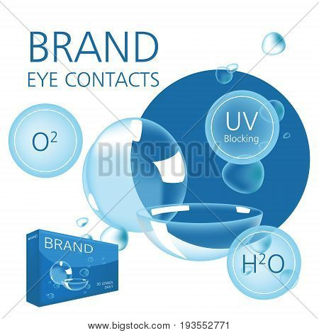 Vector design template with photo realistic contacts package and water bubble illustration including text