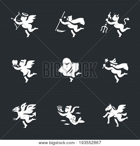 Cupid, death, devil, tooth fairy, ghost, sorceress, dragon, mermaid, pegasus.
