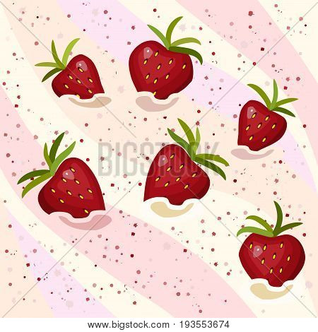 Seamless pattern strawberry mousse with ripe berries, vector illustration