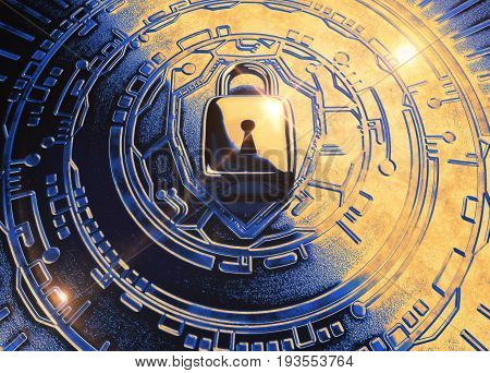 A 3d rendering of a padlock and metallic technology background, representing cybersecurity