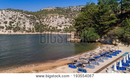 Arsanas Beach Thassos island Greece. Arsanas beach is located in the northeastern part of the island next to the Livadi beach. It was the boat-yard of the monastery of Archangel Michael.