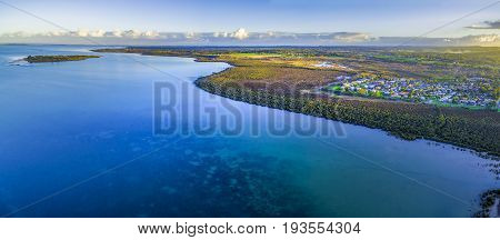 Aerial panoramic view of beautiful coastline near Hastings at dusk. Melbourne Australia