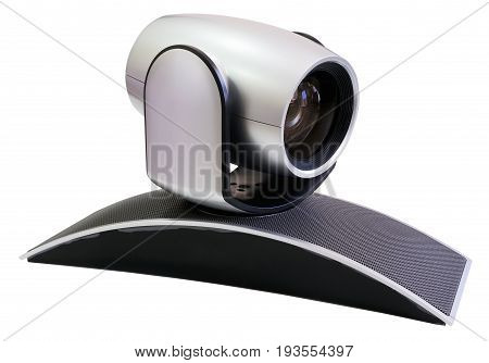 Supervision video camera isometric view isolated on white background