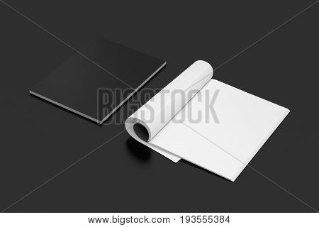 Blank Open And Closed Magazine With Glossy Paper