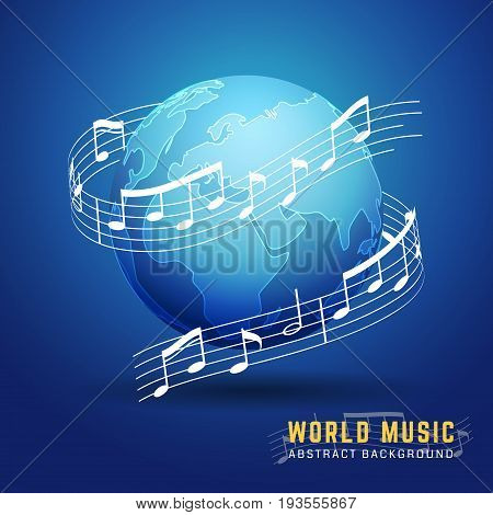 Abstract 3D World Music Design Concept. Melody Notes Score Around The Earth. Vector Illustration