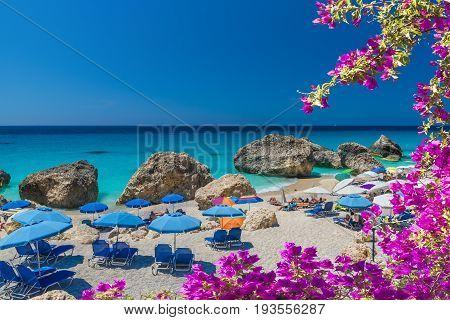 Megali Petra, beach on the Ionian sea, Lefkada island, Greece.