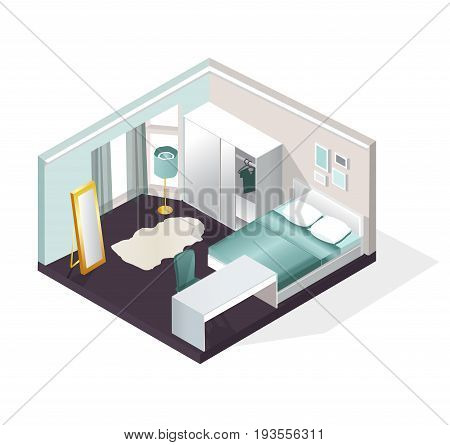 Isometric bedroom Interior view. Modern realistic bedroom furniture set. Vector illustration