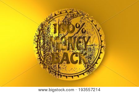Stamp icon. Graphic design elements. 3D rendering. 100 percent money back text. Golden metallic material