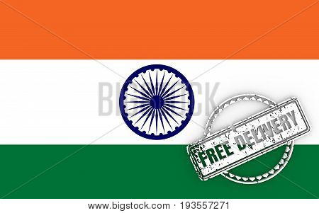 Distressed stamp icon. Graphic design elements. 3D rendering. Free delivery text. Flag of the India