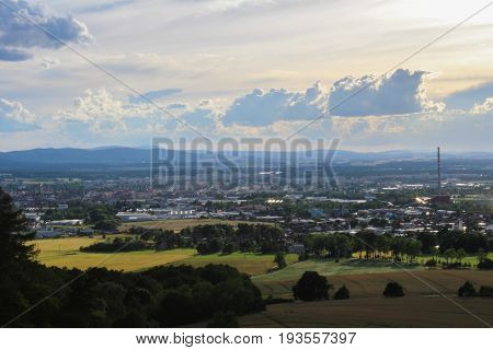 Panoramatic View On City Ceske Budejovice With Black Tower
