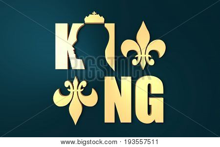 King logo. Royal luxury emblem. Face and crown icon. Business fantasy golden badge with King word. 3D rendering