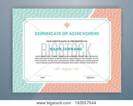 Multipurpose Modern Professional Certificate Template Design for Print. Pastel Color Scheme Certificate of Achievement. Vector illustration