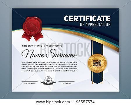 Multipurpose Modern Professional Certificate Template Design for Print. Vector illustration