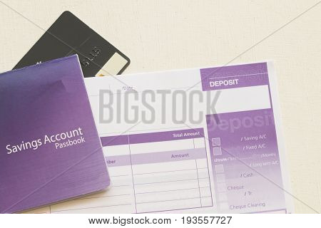 saving account pass book bank and slip deposit of bank at office desk