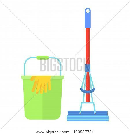 Clean tools and equipment. Cleaning mop and bucket for mopping floor. Cleaning supplies for janitor sweep and cleaner. Flat vector cartoon illustration. Objects isolated on a white background.