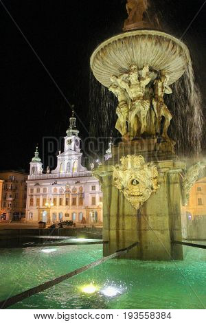 2017-07-01 - Ceske Budejovice City, Czech Republic - Namesti Premysla Otakara Ii. Samson Fountain