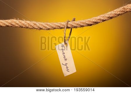 thank you note tethered to the rope